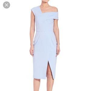 Nicholas Light Blue One Shoulder Ponte Slit Dress